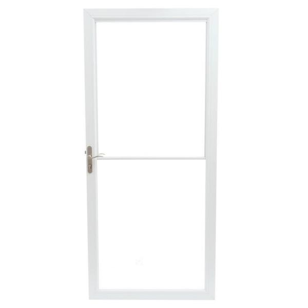 36 in. x 80 in. 2500 Series White Universal Self-Storing Aluminum Storm Door with Nickel Hardware