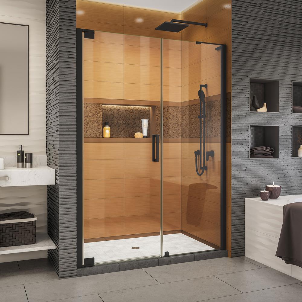 Elegance-LS 50-3/4 in. to 52-3/4 in. W x 72 in. H Frameless Pivot Shower Door in Satin Black