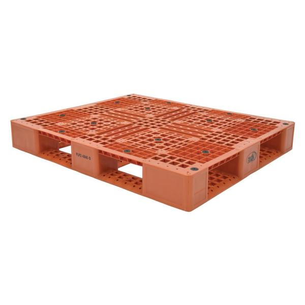 48 in. x 40 in. x 6 in. Orange Plastic Pallet/Skid