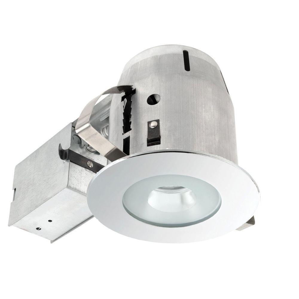 4 in. Bathroom Chrome Recessed Lighting Kit with Clear Glass Spot