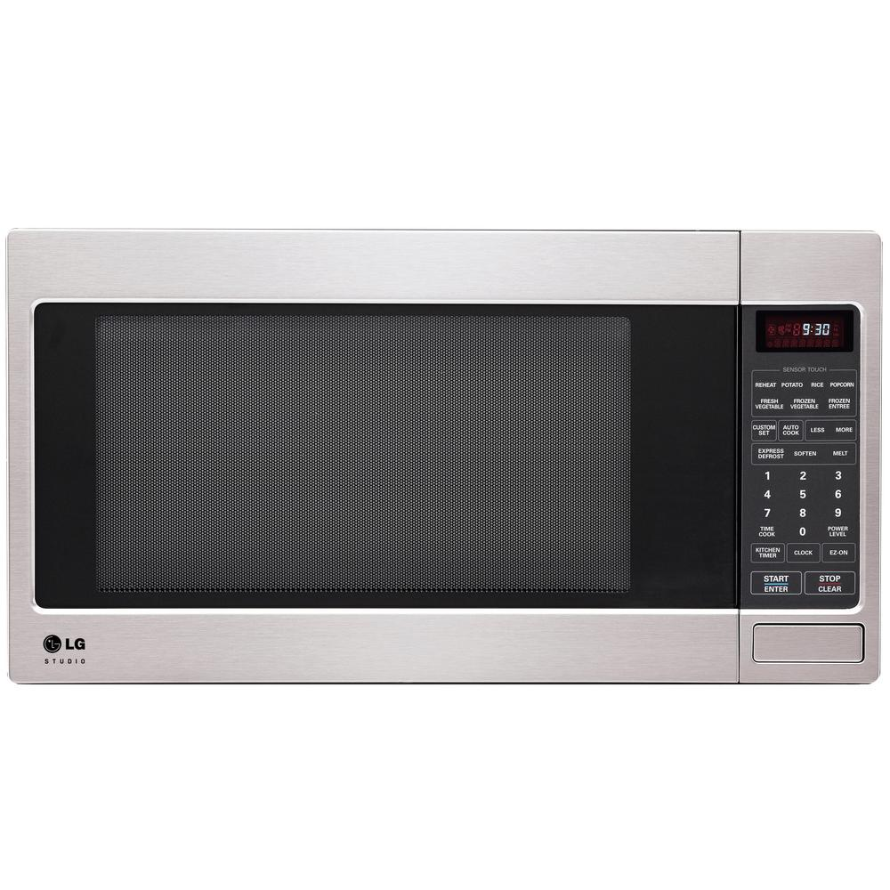 Lg Studio 2 0 Cu Ft Countertop Microwave In Stainless Steel With Sensor Cooking Lsrm2010st The Home Depot