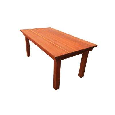 Farmhouse Heart Stained 6 ft. Redwood Outdoor Dining Table