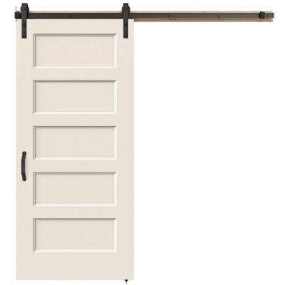 36 in. x 84 in. Conmore Primed Smooth Molded Composite MDF Barn Door with Rustic Hardware Kit