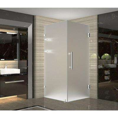 Aquadica GS 36 in. x 36 in. x 72 in. Frameless Hinged Square Shower Enclosure with Frosted Glass and Shelves in Chrome