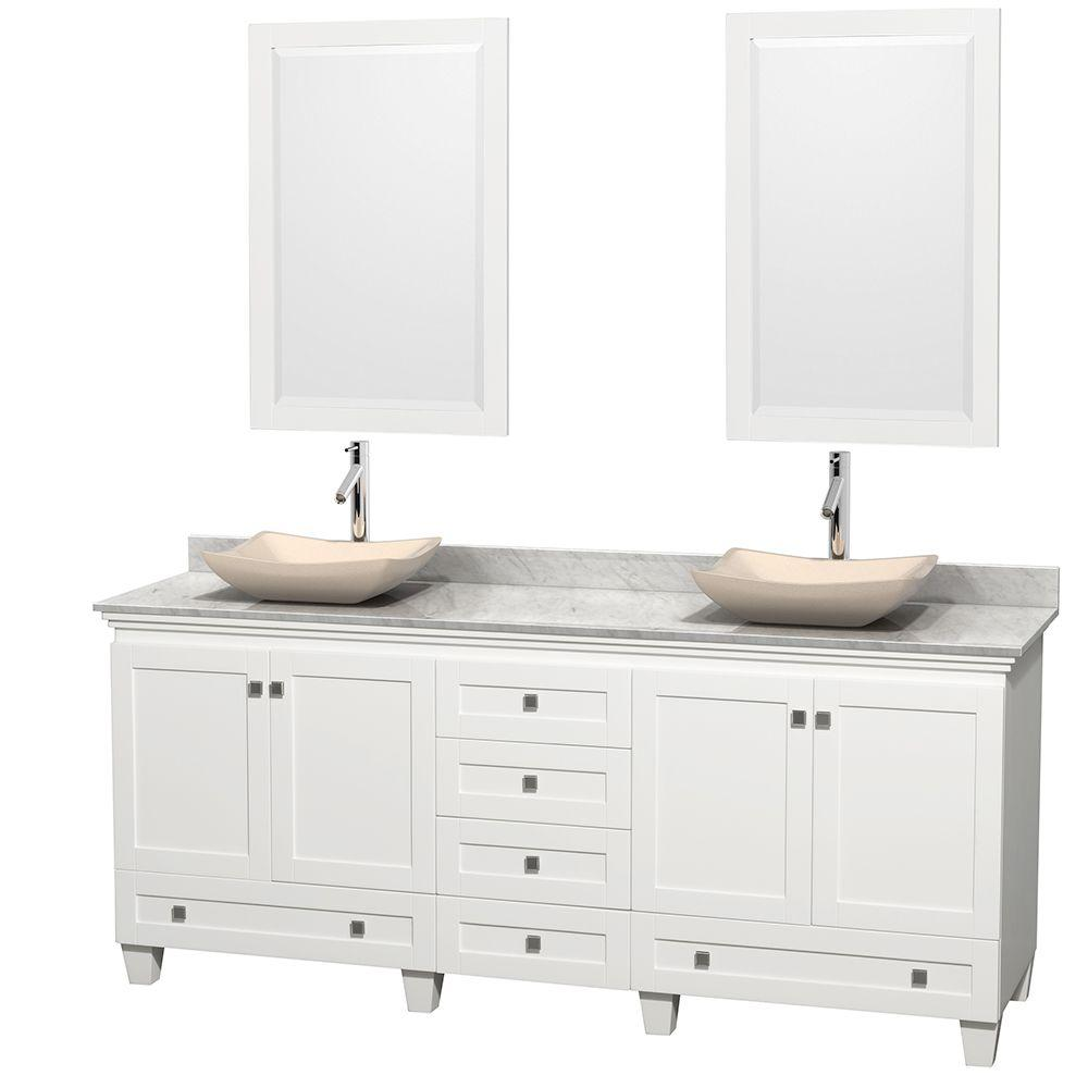 Acclaim 80 in. W Double Vanity in White with Marble Vanity