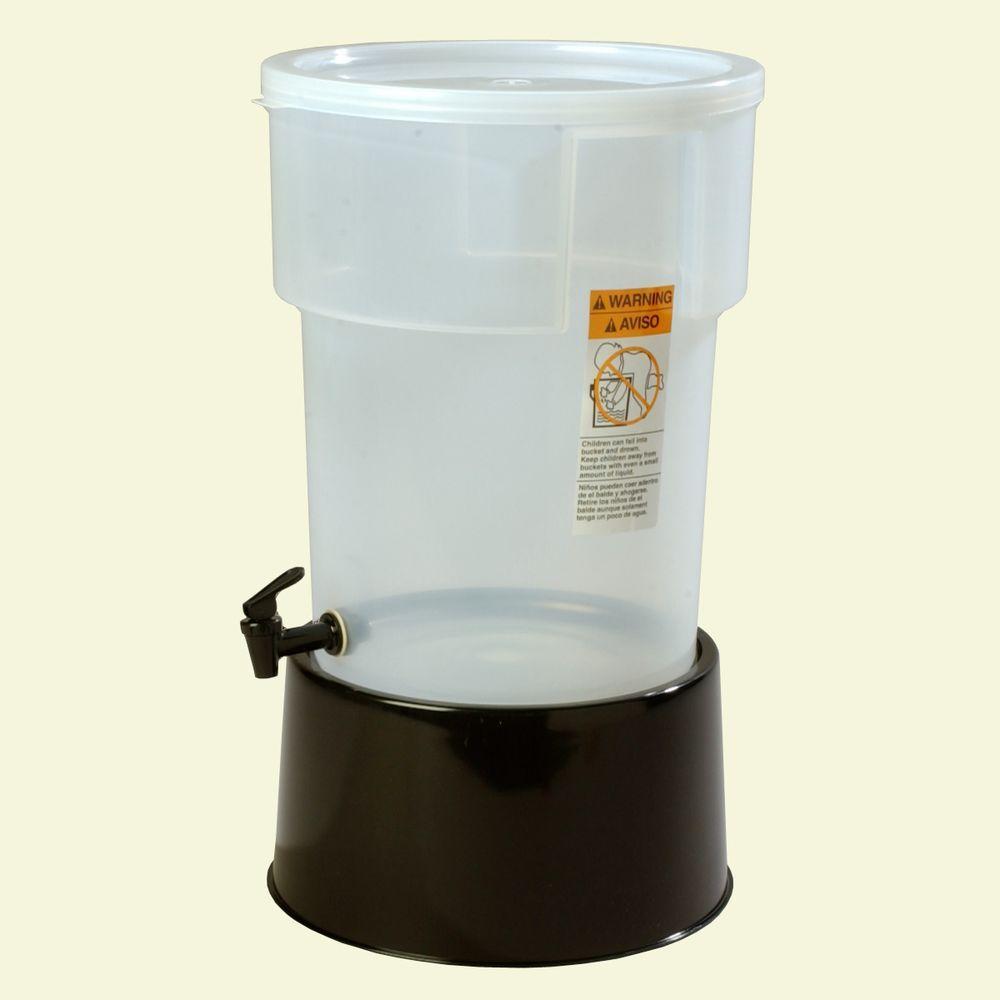 5 gal. Polypropylene Round Beverage Dispenser with Base in Translucent Reservoir and Black Base