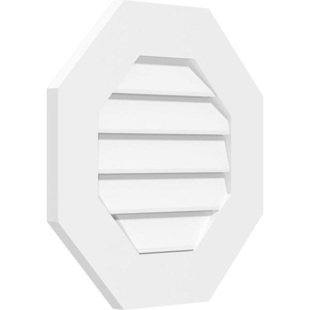 Ekena Millwork GVPVE12X3003SF Vertical Surface Mount PVC Gable Vent Factory Primed White 12 W Inch x 30 H Inch