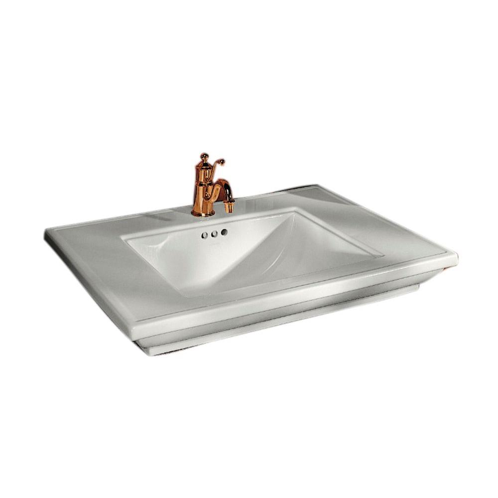 awesome Kohler Pedestal Sinks Memoirs Part - 12: KOHLER Memoirs 5 in. Cermaic Pedestal Sink Basin in Biscuit with Overflow  Drain