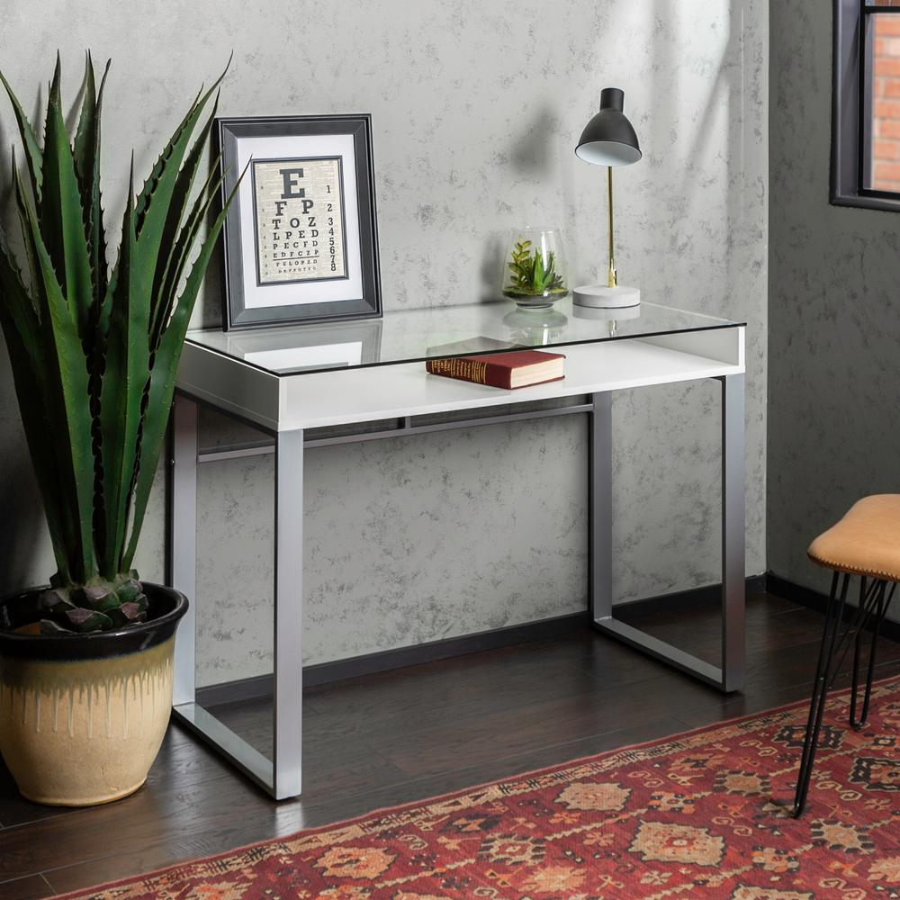 42 In White And Gray Modern Glass Top Desk Hdm42chmgwh The Home Depot