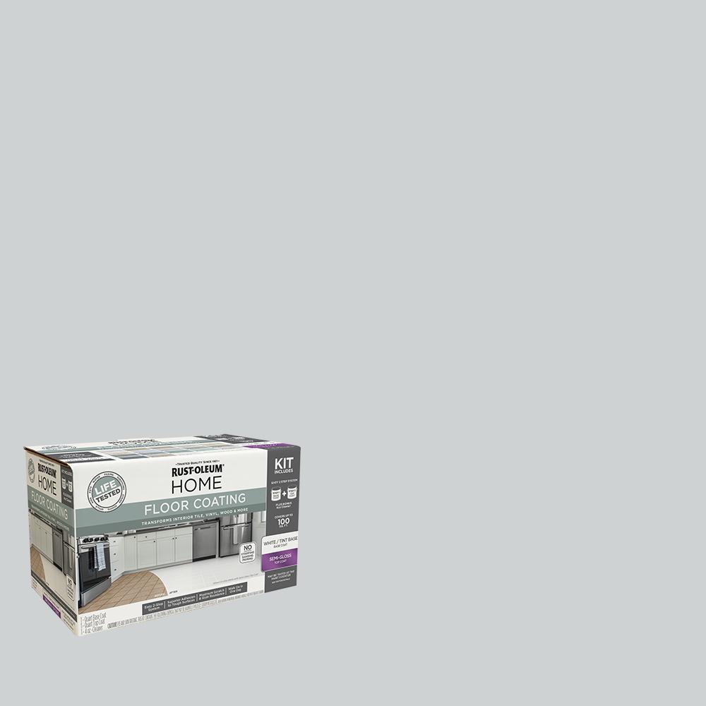 Rust-Oleum Home 1 qt. Pearl Gray Interior Floor Base Semi-Gloss Clear Coating Kit