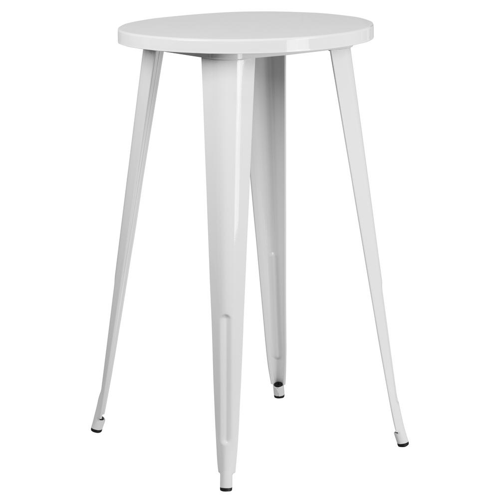 Flash Furniture White Round Metal Outdoor Bistro Table