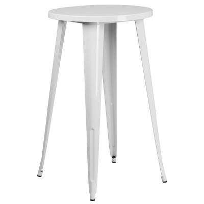 White Round Metal Outdoor Bistro Table