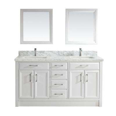 Calais 63 in. W x 22 in. D Vanity in White with Marble Vanity Top in Gray with White Basin and Mirror