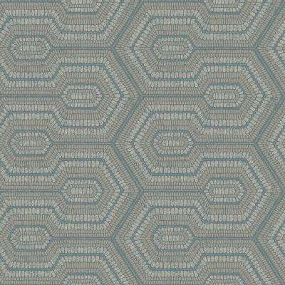 Geometric Beaded Grey Blue and Metallic Silver Wallpaper
