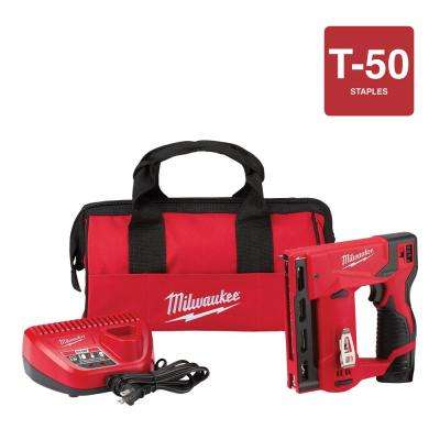 M12 12-Volt Lithium-Ion Cordless 3/8 in. Crown Stapler Kit W/ (1) 1.5Ah Battery, Charger & Bag