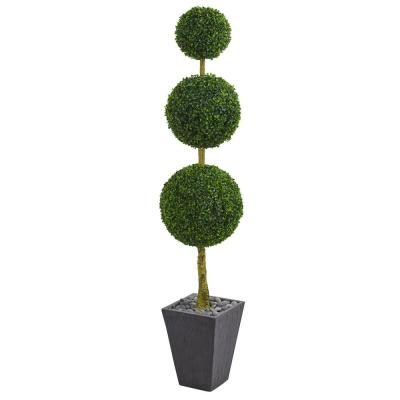 6 ft. High Indoor/Outdoor Boxwood Triple Ball Topiary Artificial Tree in Slate Planter