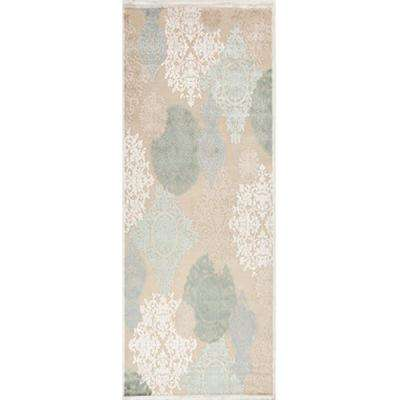 Machine Made Warm Sand 2 ft. 6 in. x 8 ft. Damask Runner Rug