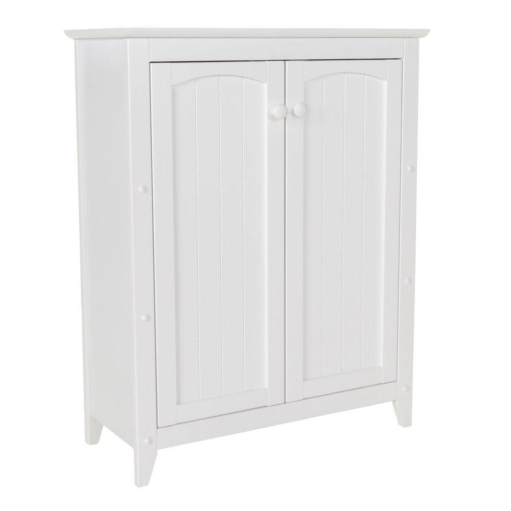 Catskill Craftsmen 28-1/2 in. W x 36 in. H x 12-1/2 in. D Wood Bathroom Linen Storage Floor Cabinet in White