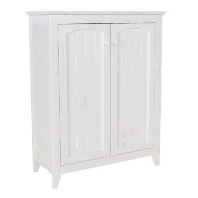 28-1/2 in. W x 36 in. H x 12-1/2 in. D Wood Bathroom Linen Storage Floor Cabinet in White