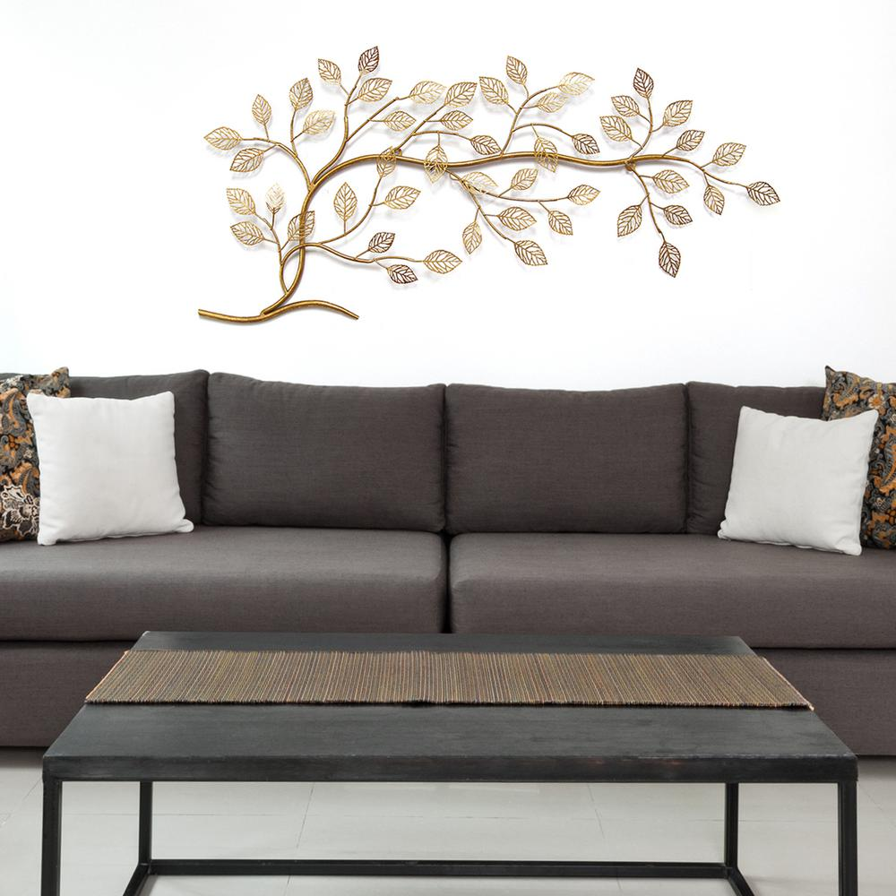 Stratton home decor golden tree branch metal wall decor for Metal home decor