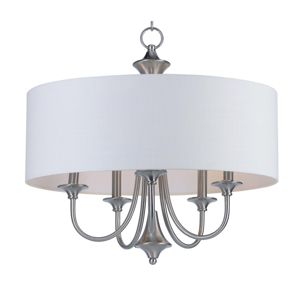 Maxim Lighting Bongo 5-Light Satin Nickel Adjustable with White Fabric Shade Pendant Maxim Lighting's commitment to both the residential lighting and the home building industries will assure you a product line focused on your lighting needs. With Maxim Lighting accessories you will find quality product that is well designed, well priced and readily available. Maxim has fixtures in a variety of styles and a strong presence in the energy-efficient lighting industry, Maxim Lighting is the clear choice for quality lighting.
