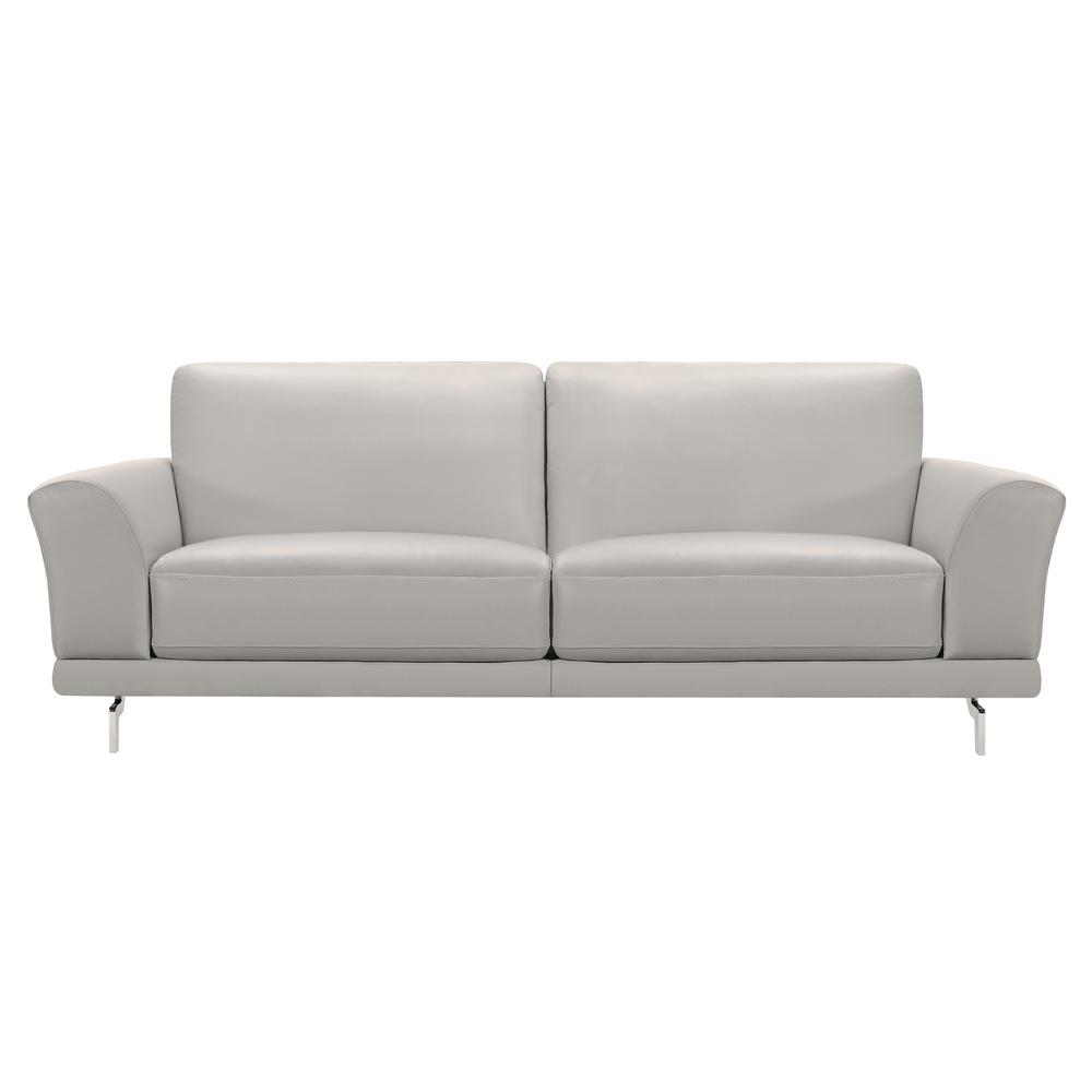 Armen Living Genuine Dove Grey Leather Contemporary Sofa With Brushed Stainless Steel Legs