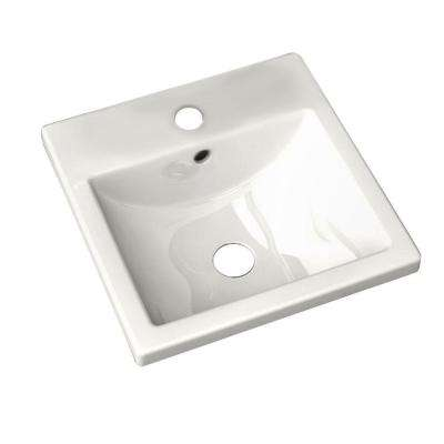 Studio Carre Countertop Bathroom Sink with Center Hole Only and Rear Overflow in White