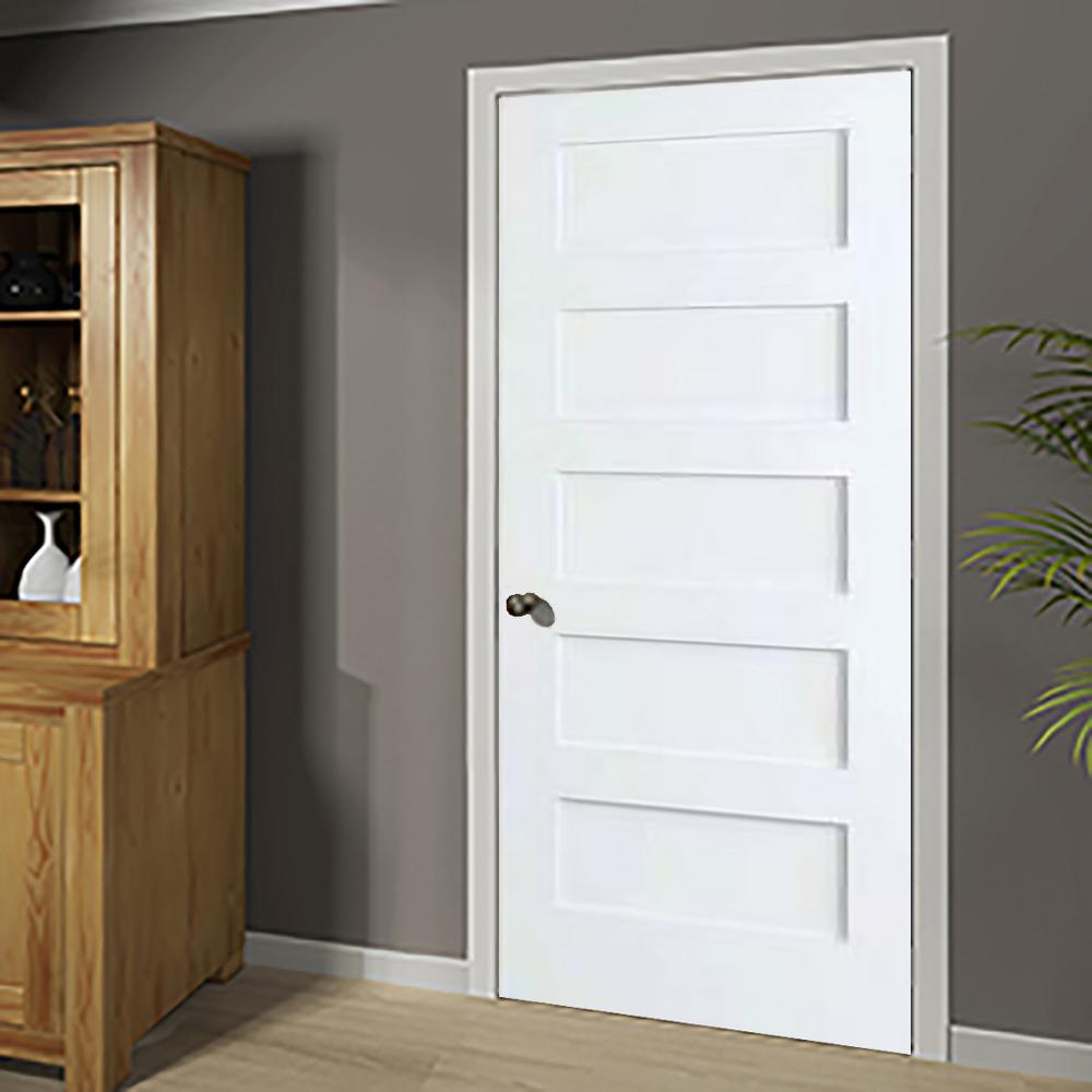Kimberly Bay 30 In X 80 White 5 Panel Shaker Solid Core Wood Interior Door Slab