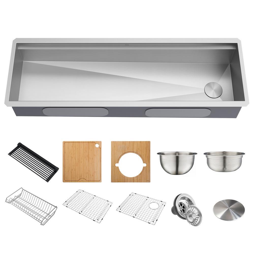 Kore 2-Tier Workstation 16-Gauge Stainless Steel 57 in. Single Bowl Undermount Kitchen Sink with 10 Piece Chefs Kit
