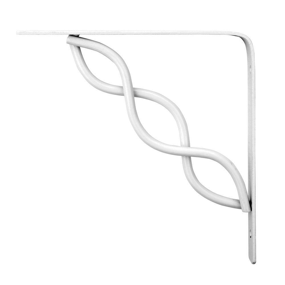 Knape & Vogt White Scroll 6 in. Steel Decorative Shelf Brackets-DISCONTINUED
