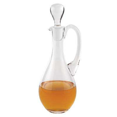 14 in. H 32 oz. European Mouth Blown Lead Free Crystal Handled Wine Decanter