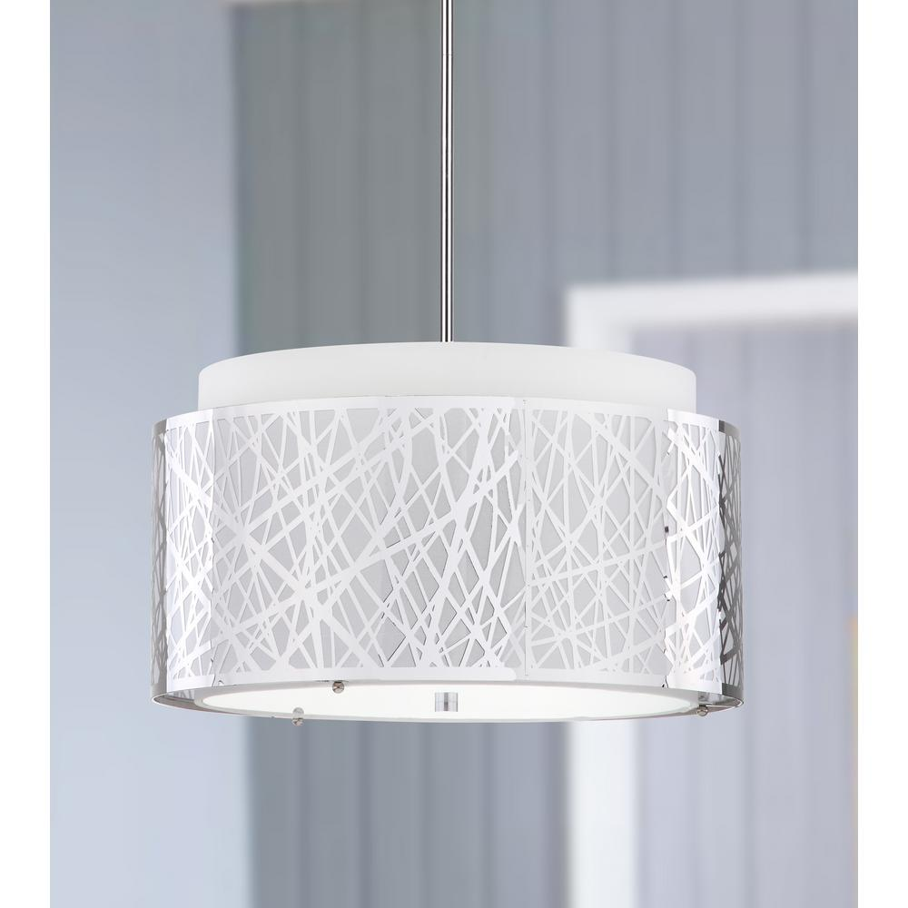 Safavieh Double Tree 3-Light Chrome Pendant with Off-White Shade
