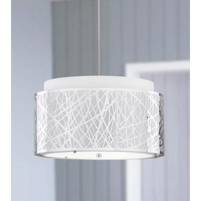 Double Tree 3-Light Chrome Pendant with Off-White Shade