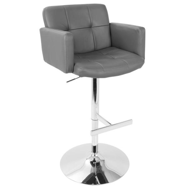 Lumisource Stout Chrome and Grey Faux Leather Adjustable Height Bar Stool