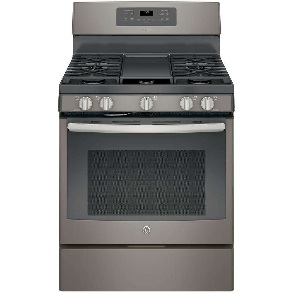 Adora 5.0 cu. ft. Gas Range with Self-Cleaning Convection Oven in Slate (Grey), Fingerprint Resistant Your 5.0 cu. ft. Adora Gas Range has two extra-large Power Boil burners so you get twice the high-heat cooking power. Never worry about burning your dishes again with the Gas Convection Oven, which circulates heat for high-quality results. Baked-on oven residue and splatters get eliminated fast and efficiently with the self-cleaning capabilities. GE appliances provide up-to-date technology and exceptional quality to simplify the way you live. With a timeless appearance, this family of appliances is adds allure and functionality to any kitchen. And, coming from one of the most trusted names in America, you know that this entire selection of appliances is as advanced as it is practical. Color: Slate.
