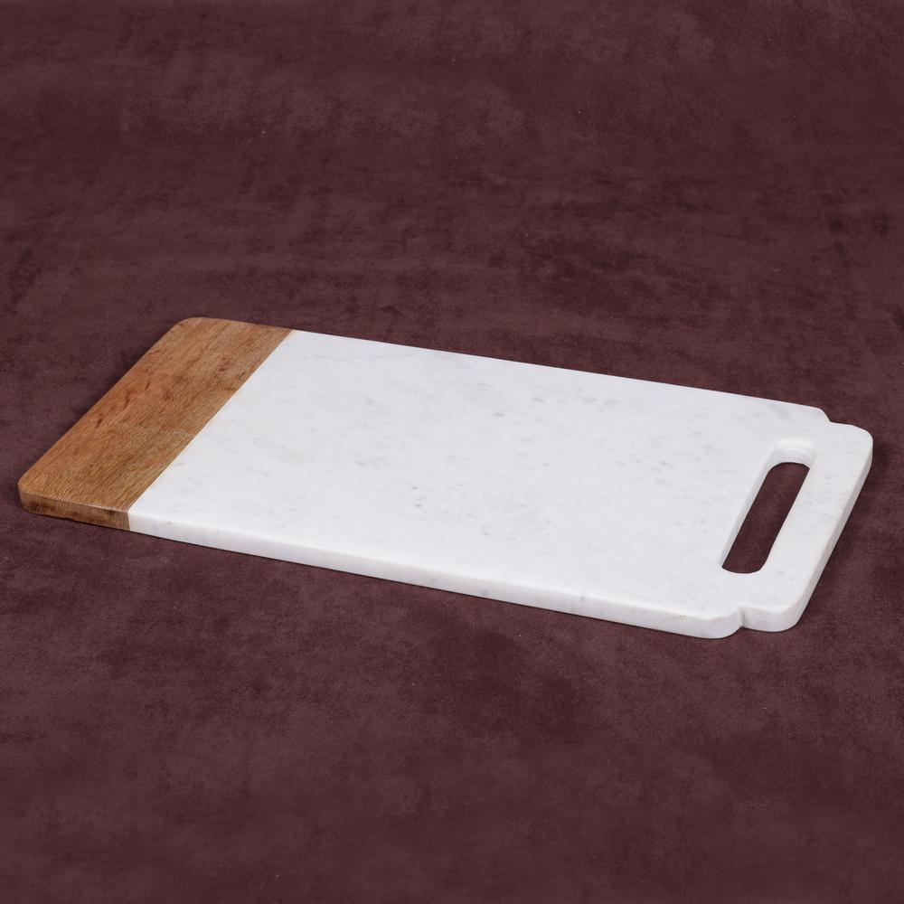 """Taj Elite"" Creamy White Marble with Mango Wood 18 in. x 9 in. Handled Board"