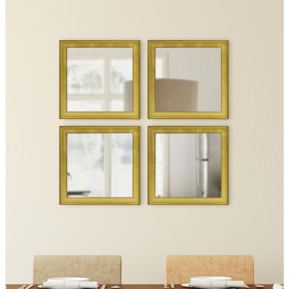 Vintage Gold Square Mirrors Set Of 4