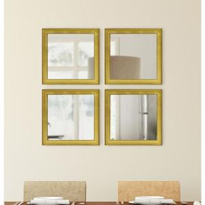 15.5 inch x 15.5 inch Vintage Gold Square Mirrors (Set of 4) by