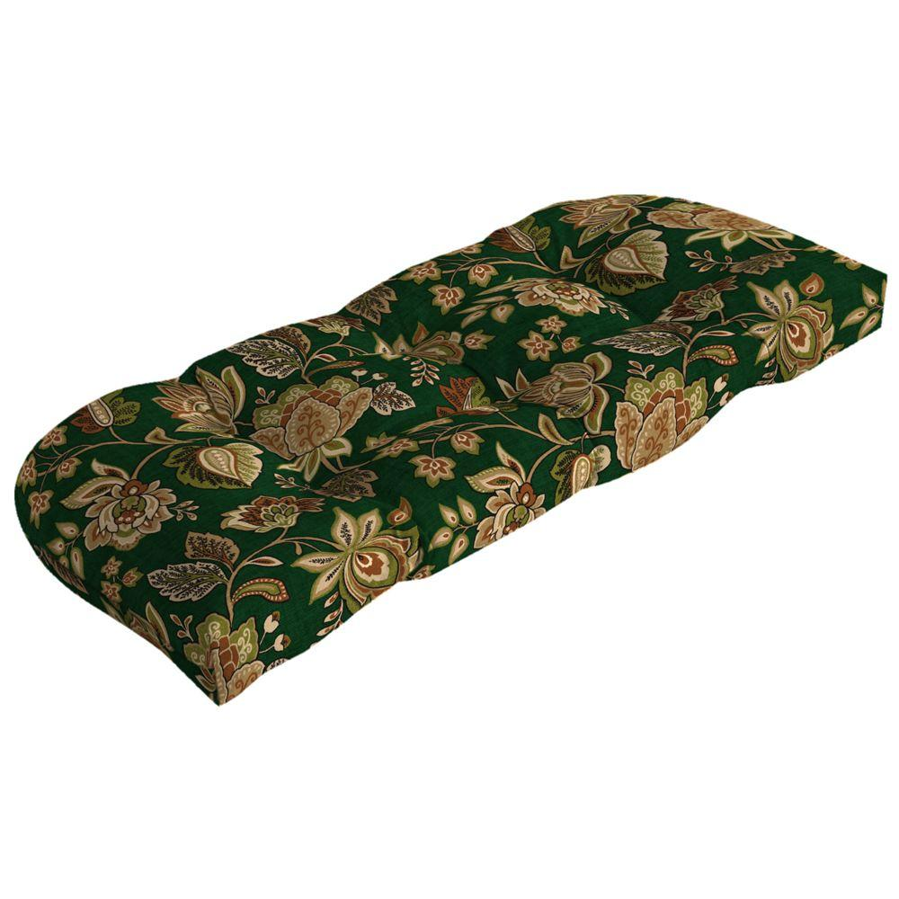 Arden Hunter Green Floral Wicker Tufted Outdoor Loveseat Cushion-DISCONTINUED