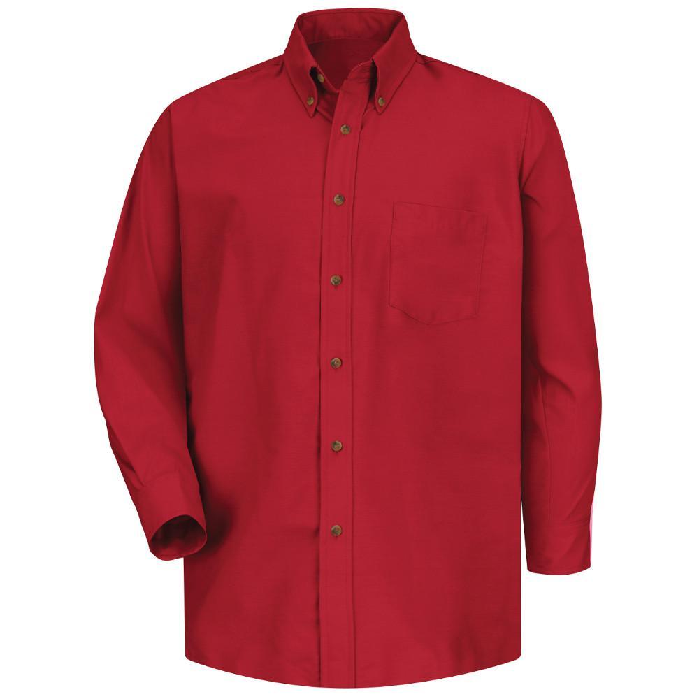 Men's Size 36/37 (Tall) Red Poplin Dress Shirt