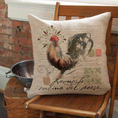 Rooster Run Natural Rooster Decorative Pillow