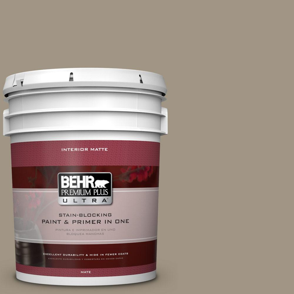 5 gal. #BNC-24 Shadow Taupe Matte Interior Paint