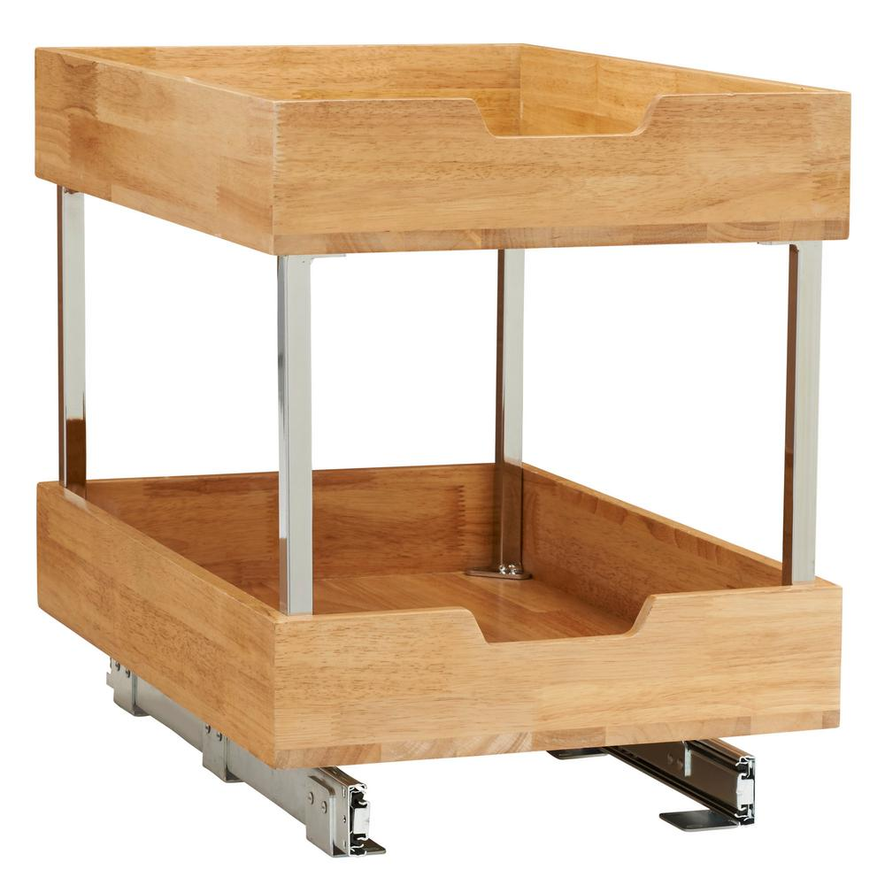 2 Tier Pull Out Wood Cabinet Organizer