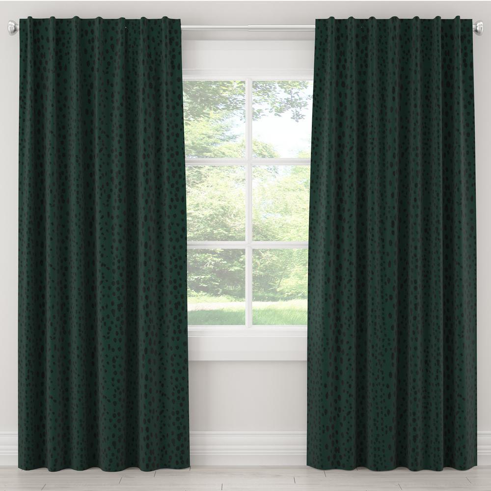 Skyline Furniture 50 in. W x 108 in. L Blackout Curtain in Linen Leopard Emerald