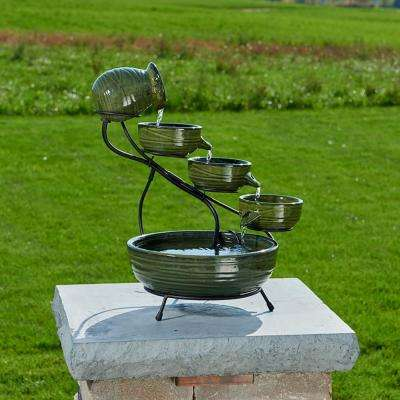 Ceramic Solar Cascade Fountain with Green Bamboo Finish