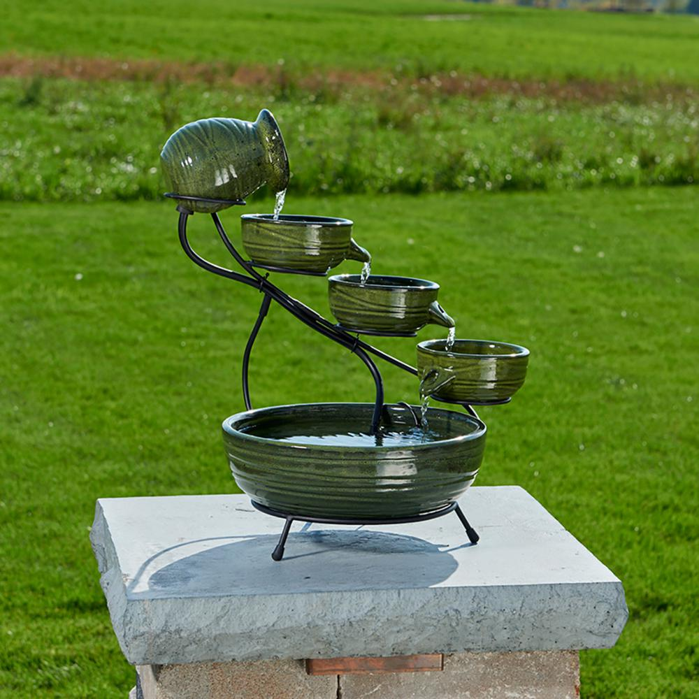 Smart Solar Ceramic Solar Cascade Fountain with Green Bamboo Finish