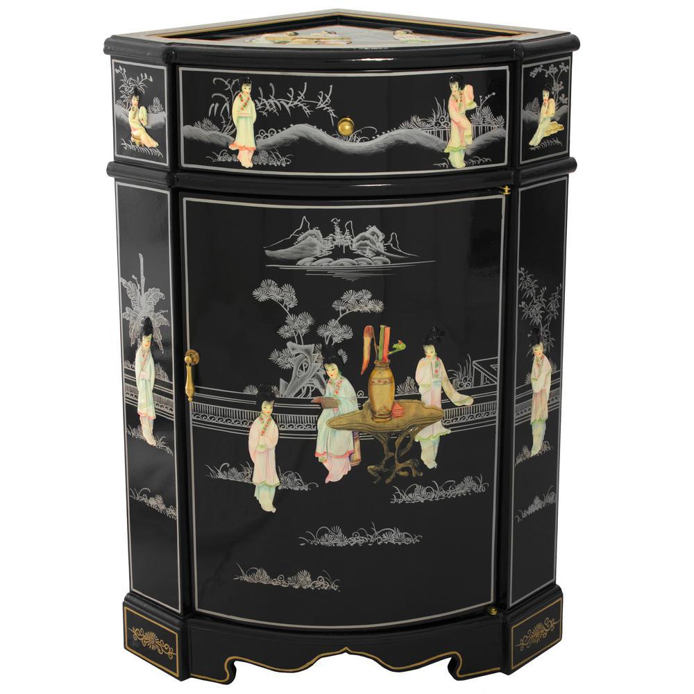 Oriental Furniture Black Lacquer Small Corner Cabinet Lcq Cb Crncab The Home Depot