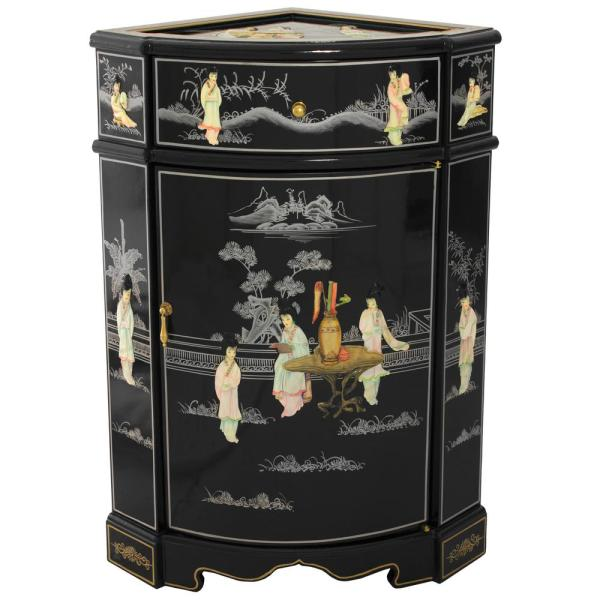 Oriental Furniture Black Lacquer Small Corner Cabinet