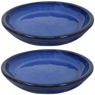 9.75 in. Imperial Blue Ceramic Planter Saucer (Set of 2)