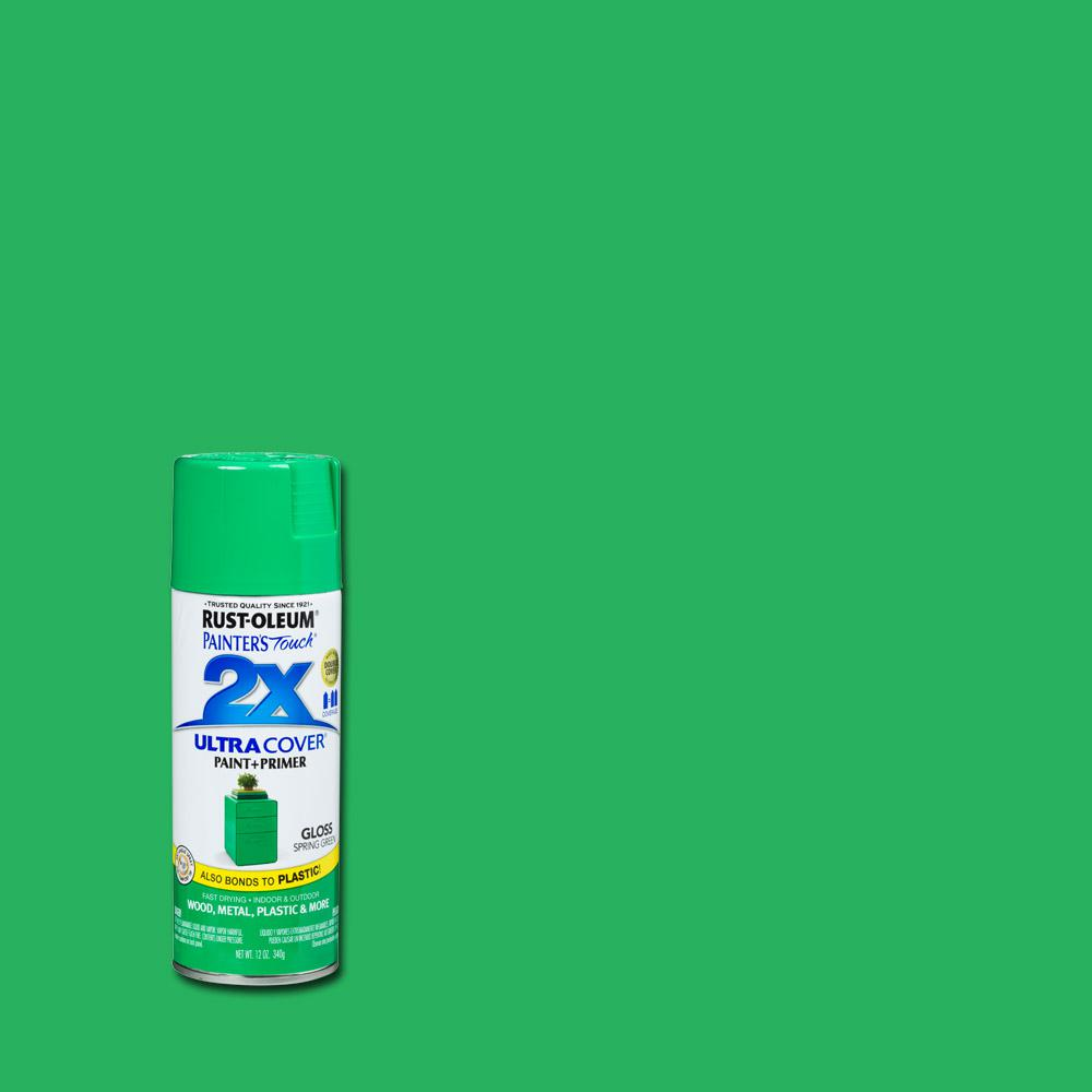 Rust Oleum Painter S Touch 2x 12 Oz Gloss Spring Green General Purpose Spray Paint